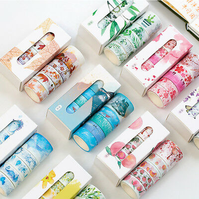 5 Rolls Flower Leaves Washi Tape Set Stationery Gift Scrapbook Album Decor Pour