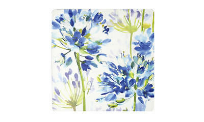 "Inspire Blue Medley Pretty Flower Artistic Placemats 12"" x 12"" Hardboard Set 4"