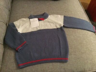 BNWT The Little White Company Colour Block Zip Jumper 9-12 Months