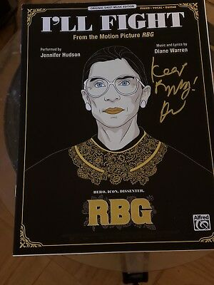 RBG 'I'll Fight' Diane Warren autographed sheet music Ruth Bader Ginsburg