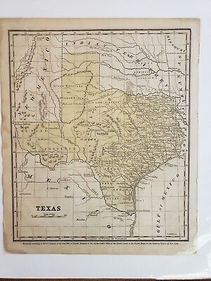 Original 1853 map of Texas with hand coloring