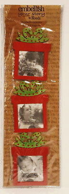 Embellish Your Story by Roeda Christmas Present Frame Metal Magnets Set of 3