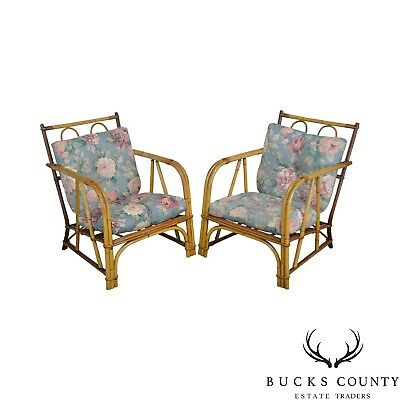 Ward Wicker Vintage Antique Pair of Split Reed Rattan Lounge Chairs