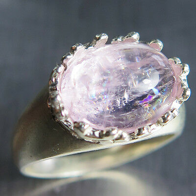 4.65cts Natural pink morganite cabochon 925 Sterling Silver unisex ring
