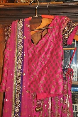 Gorgeous embroidered Pink Purple Lengha Choli Wedding Indian Wear Ethnic LOOK