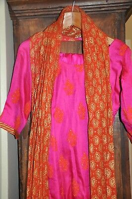 Lovely Pink Orange simple Indian Wear Ethnic Silk Must SEE