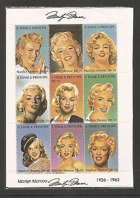 St. Thomas And Prince Islands. 1994 Marilyn Monroe Full Sheet.  MNH
