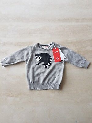 NWT Plum Collections Baby Boy Racoon Jumper Size 00  3-6 Months Grey Orange