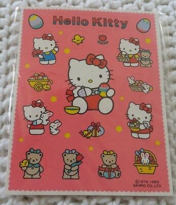 Vintage Sanrio Hello Kitty Sticker Sheet New in Package 1976,1990s - spring