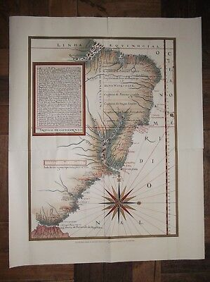 Old map of Brazil divided into capitanias ends of the 16th century