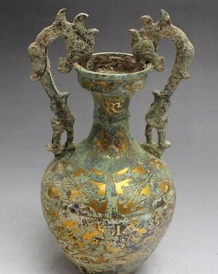"""7""""  Chinese Old Antique Brass gold-plated double dragon vase decoration   m"""