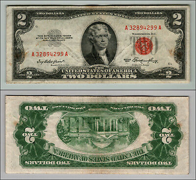 1953 $2 Dollar Bill Us Note Legal Tender Paper Money Currency Red Seal W790