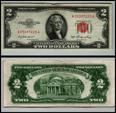 1953 $2 Dollar Bill Us Note Legal Tender Paper Money Currency Red Seal V781