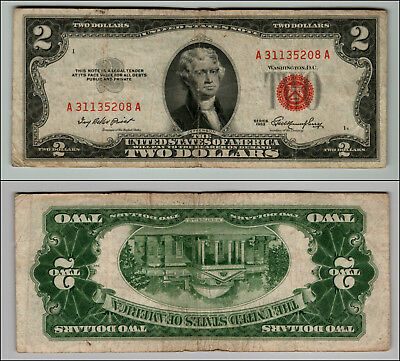 1953 $2 Dollar Bill Us Note Legal Tender Paper Money Currency Red Seal W788