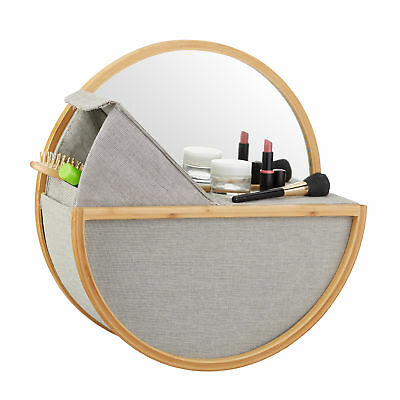 Hanging Wall Mirror with Storage Basket, Round Vanity Mirror, Bamboo