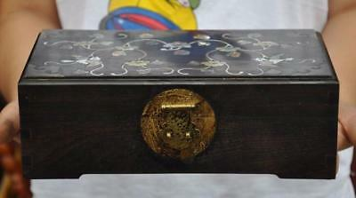 Old China Rosewood wood Inlay shell hand-carved flower bird statue Jewelry box