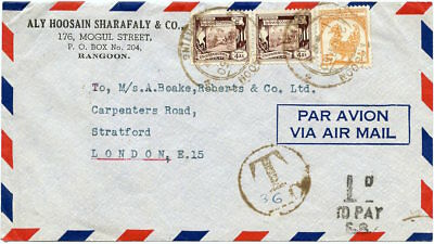"""Burma 1950 Commercial Air Cover to London w/""""T"""" h.s. & """"TO PAY"""" h.s."""