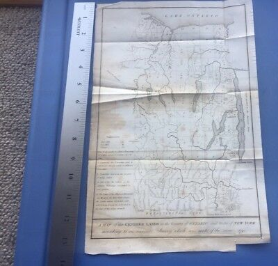New York Map Very Old Original Showing Revolutionary War Army Land Grant