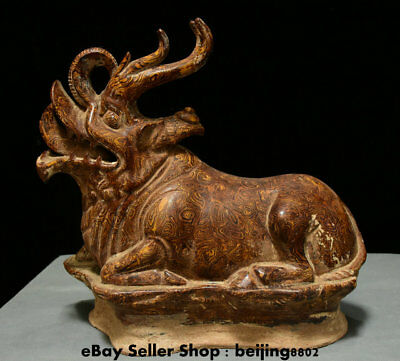 """14"""" Chinese Old antique Porcelain Feng Shui Animal Beast Unicorn dragon Statue"""