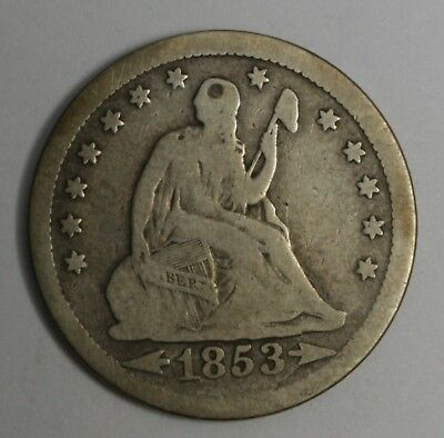 1853 Seated Liberty Quarter, Arrows/Rays, Silver Coin, Circulated Condition