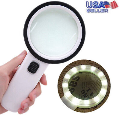 30X High Power Handheld Magnifying Glass LED Light Giant Illuminated Magnifier