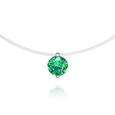 18k white gold made with green Swarovski crystal zirconia invisible necklace 6mm