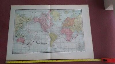 Antique 1900 World Map World Atlas Rare Vintage