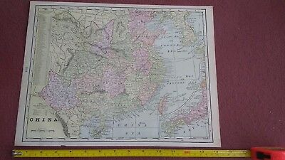 Antique Map Of China 1900 Full Color Map Vintage Rare World Atlas