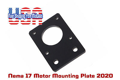 2020 NEMA17 Stepper Motor Mounting Plate, Anodized Black, Lots of 1, 2, 4