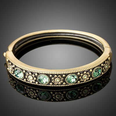 Ancient Bronze Plated Flower Bracelet/Bangle Made With Swarovski CrystalsB865-46