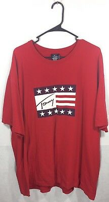 Size XXL Vintage 90s Tommy Hilfiger USA Big Flag Signature Spell Out Red T Shirt