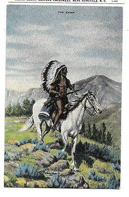 "2  Dude Larsen Native American Oil Postcards "" The Chief"" & ""cherokee Indian"""