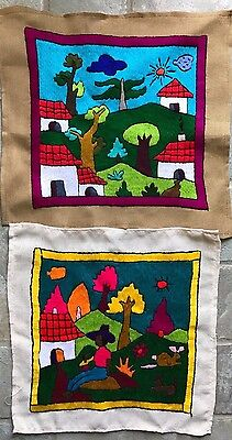 Pair of 2 Vintage South American Folk Art Embroidered Textiles