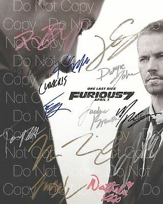 Furious 7 Diesel Statham Wiz Rock signed 8X10 photo picture poster autograph RP