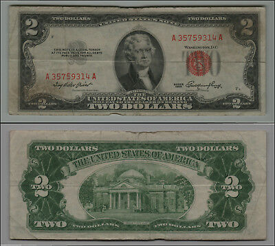 1953 $2 Dollar  Us Note Legal Tender Paper Money Currency Red Seal Lt-B170
