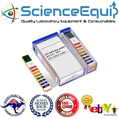 200 X pH Test Indicator Strips with Colour Scale,  pH 2.0 to 10.5 or 1.0 to 14.0