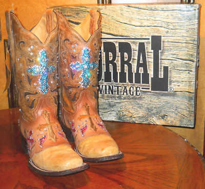 Corral Womens 9.5 Square Toed boots *CUSTOM BLINGED OUT* Swarovski Crystals LOOK