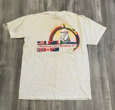 Vintage 80s Americas Cup Champion Tee Shirt Size Large Single Stitch