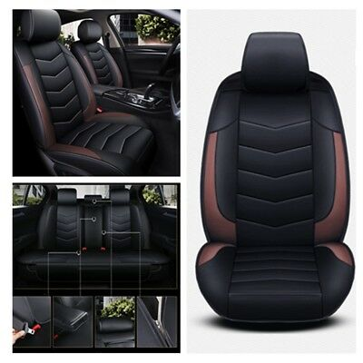 Black+Brown 5D Luxury PU Leather Car Seat Cover Cushion Full Set Full Surrounded