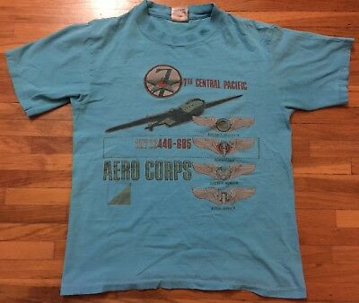 7th Central Pacific Vtg Aero Corps Cotton Teal T-Shirt - L (Fits Medium)