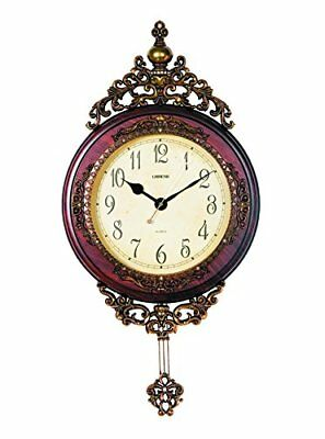 Lisheng Exquisite Hand Painted Brown Mahogany and Gold Pendulum Wall Clock cm.