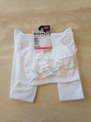 NWT Bonds Baby Party Frilly Tights 1-2 Years 12-24 Months White