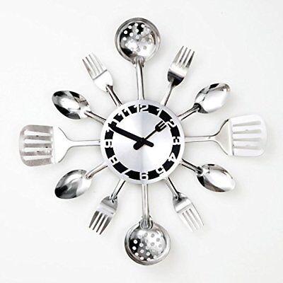 BIts and Pieces - Kitchen Utensil Clock - Silver-Toned Forks, Spoons, Spatulas -