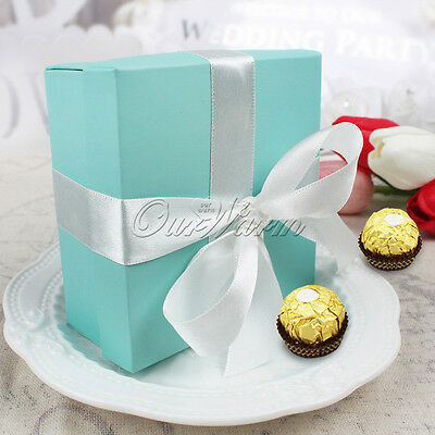 100×Kraft Paper Wedding Favor Turquoise Candy Box Silk Ribbon Sweets Gift Boxes