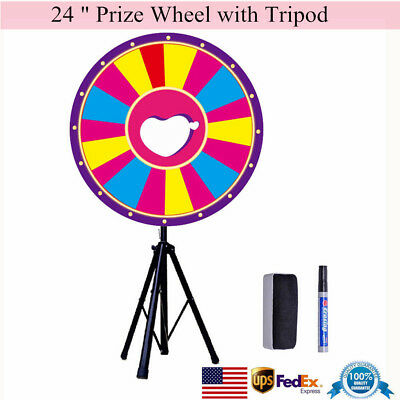 """24"""" Color Prize Wheel +Tripod Fortune Trade Show Tabletop Spin Win Game Party US"""