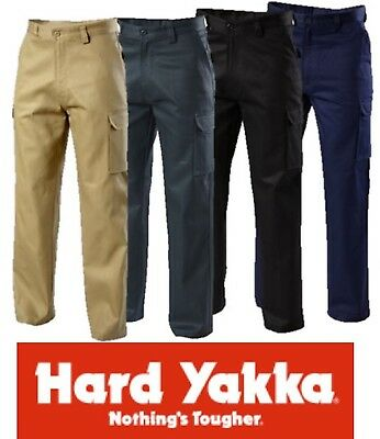 """Hard Yakka """"foundations"""" Mens Cotton Drill Cargo Pants Trousers Y02500"""