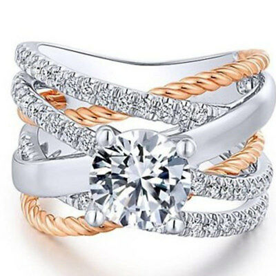 Gorgeous Infinity 925 Silver Wedding Rings for Women White Sapphire Size 6-10
