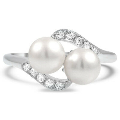 Double White Pearl Fashion Women Wedding Rings 925 Silver Jewelry Size 6-10
