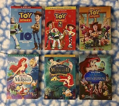 Toy Story Trilogy & The Little Mermaid Trilogy (DVD Combo) - Free USPS Shipping