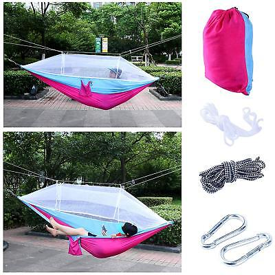 Camping Fast Drying Nylon Outdoor Mosquito Net Hammock/Free Straps-Blue/Pink